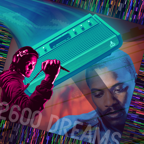 Alexander O'Neal lost in thought and Ken Ishii jacks in as an Atari 2600 swoops in across the game grid