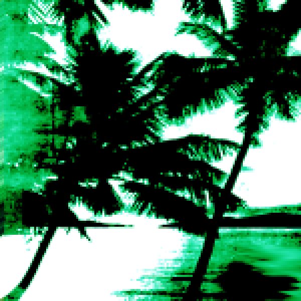 Pixelated palm trees swaying on the beach