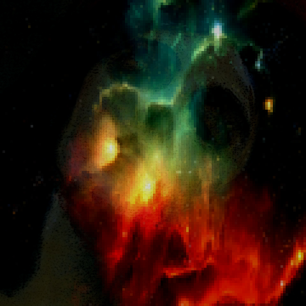 A woman's face within the nebula