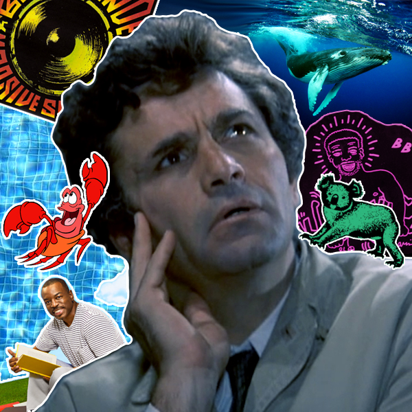 Columbo surrounded by Massive Sounds, Humpback Whale, Larry Levan, The Sleeping Bag Koala, LeVar Burton, Sebastian The Crab