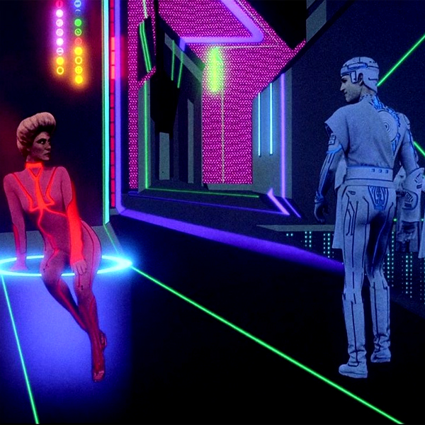 Flynn passes through the digital red light district in the movie Tron