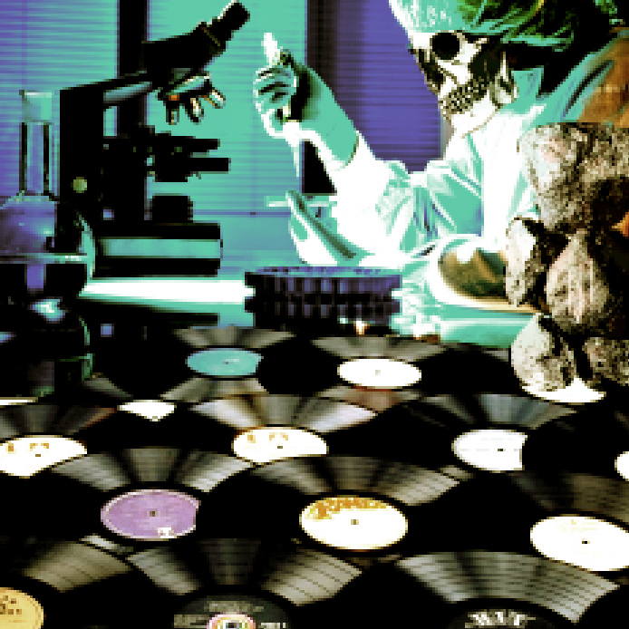Dr. Octagon inspects a pile of intergalactic vinyl in the lab