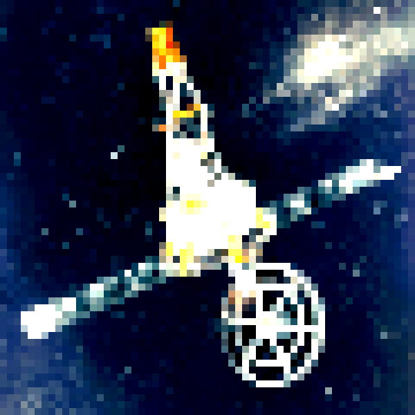 Mariner 2 probe, pixelated and upside down