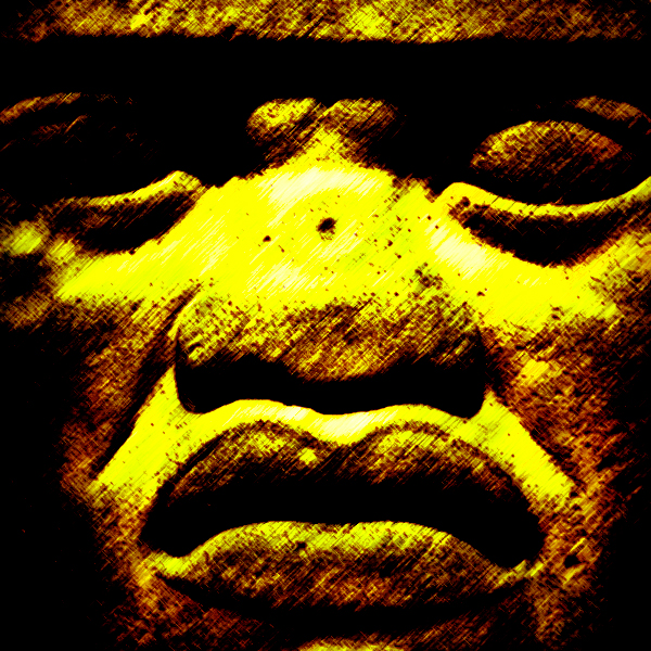 Close up image of Olmec stone head from Central America