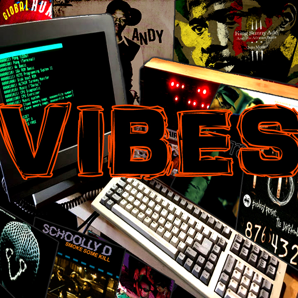 Vinyl records stacked around an Altair, with the word 'Vibes' written in a vibrant style