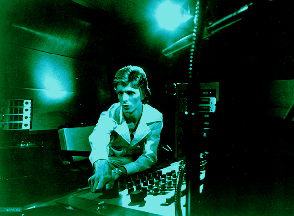 David Bowie at the mixing board, looking smart in a Philly International stylee