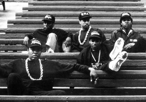 N.W.A. sitting on the steps