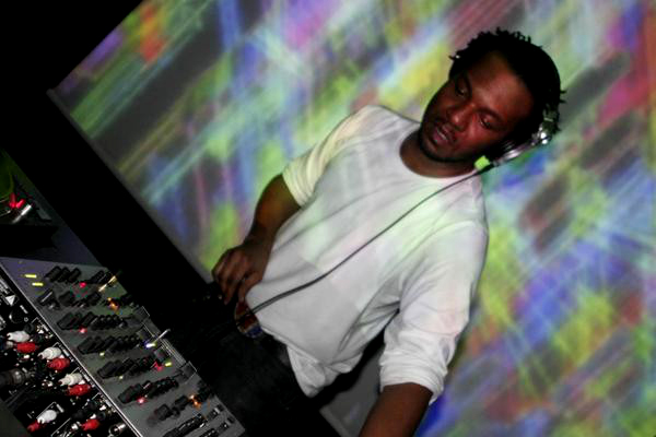 Stacey Pullen in the mix before a psychedelic background