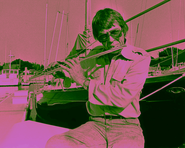 Bud Shank with his flute, somewhere in the harbor