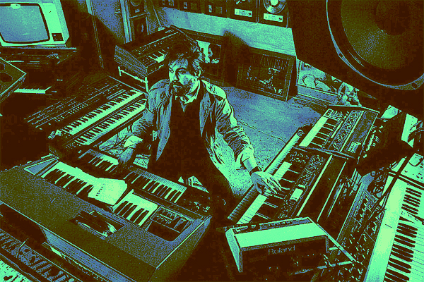 Vangelis surrounded by synthesizers