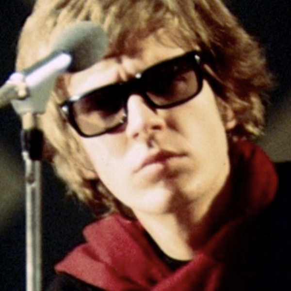 Scott Walker in glasses at the microphone, circa 1967