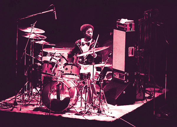 Lenny White behind the drum kit