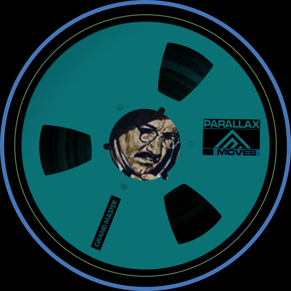 The Parallax Moves logo, with Gene Hackman listening within a reel to reel audio tape