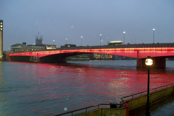 London Bridge at dusk, on a calm night