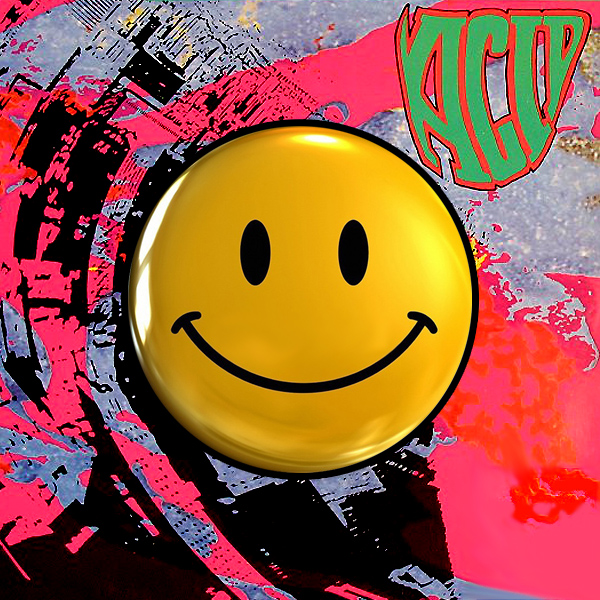 The smiley icon, the symbol of acid house, superimposed on the sleeve of a classic acid house compilation