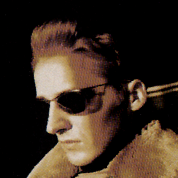Gary Cobain in fur coat and shades, like something from Neuromancer
