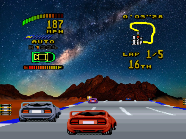 Scene from the Super Nintendo version of Top Gear 2, spliced with images of the Milky Way galaxy