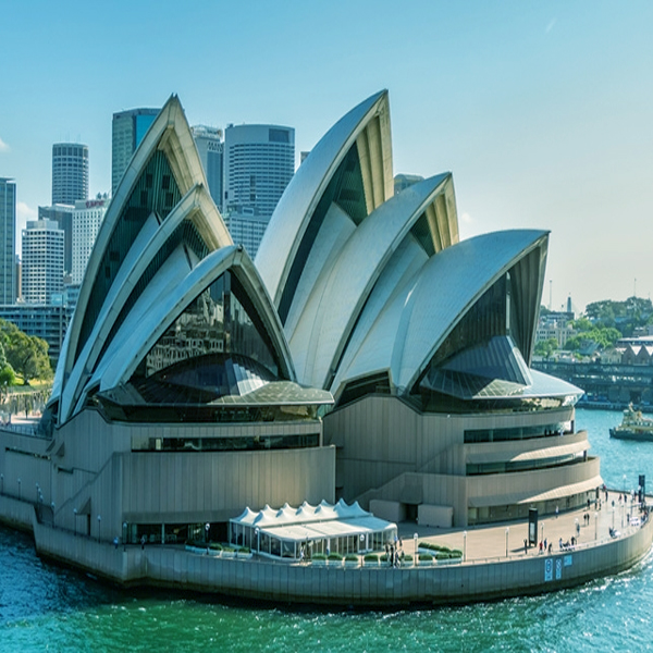 Aerial photo of the Sydney Opera House, taken from the water