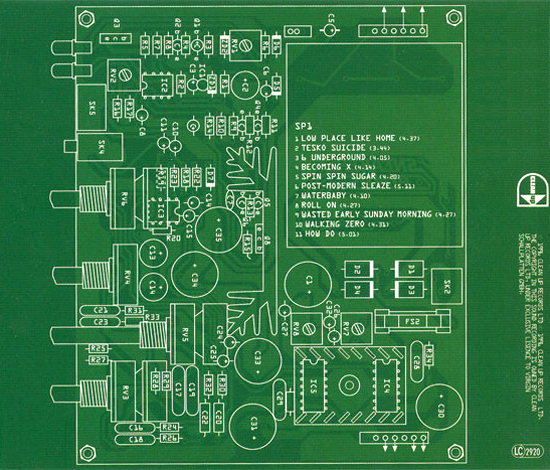 Circuitry diagram with tracklist inset, from the Becoming X CD artwork