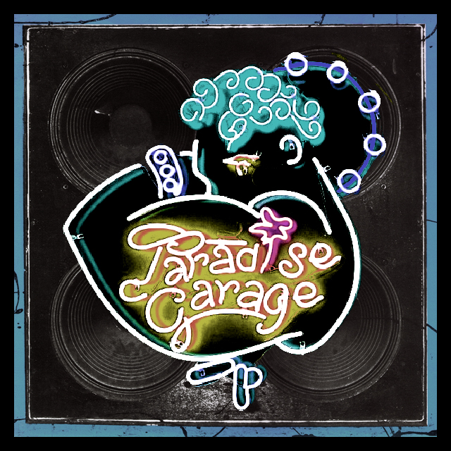 Neon sign for the Paradise Garage in front of a soundsystem