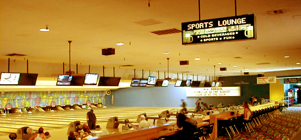 A photo of the bowling lanes