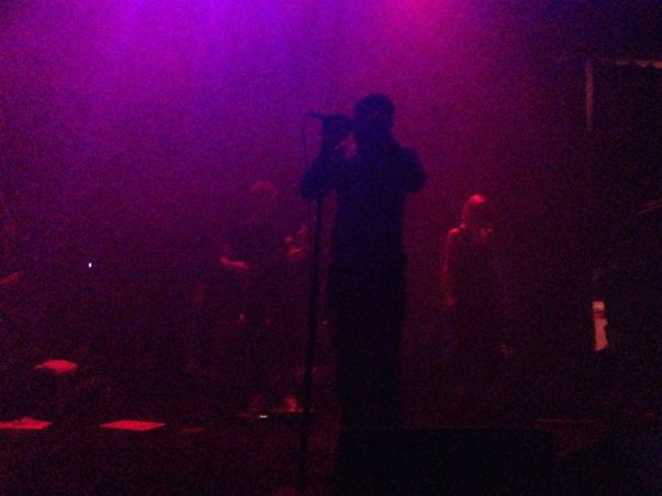 Tricky holds the microphone stand in the mist
